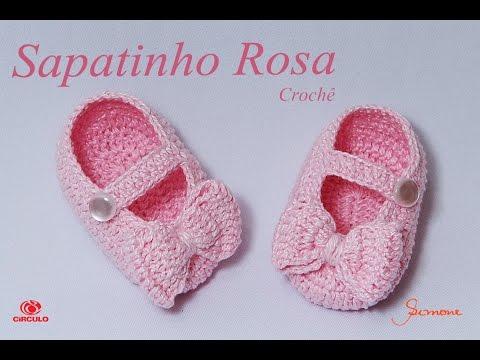 f1c06c23b Sapatinho de Crochê Rosa   Professora Simone - YouTube