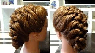 Объемная прическа в школу. Коса из жгутов. Hairstyle for school