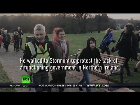 Northern Irish man walks 90 miles to protest against lack of government at Stormont