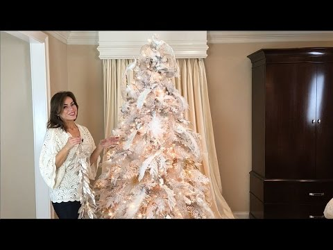 how to decorate a white flocked christmas tree full length