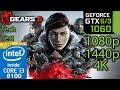 Gears 5 Tech Test - GTX 1060 6gb / 3gb - 1080p - 1440p - 4K - i3 8100 - Benchmark PC