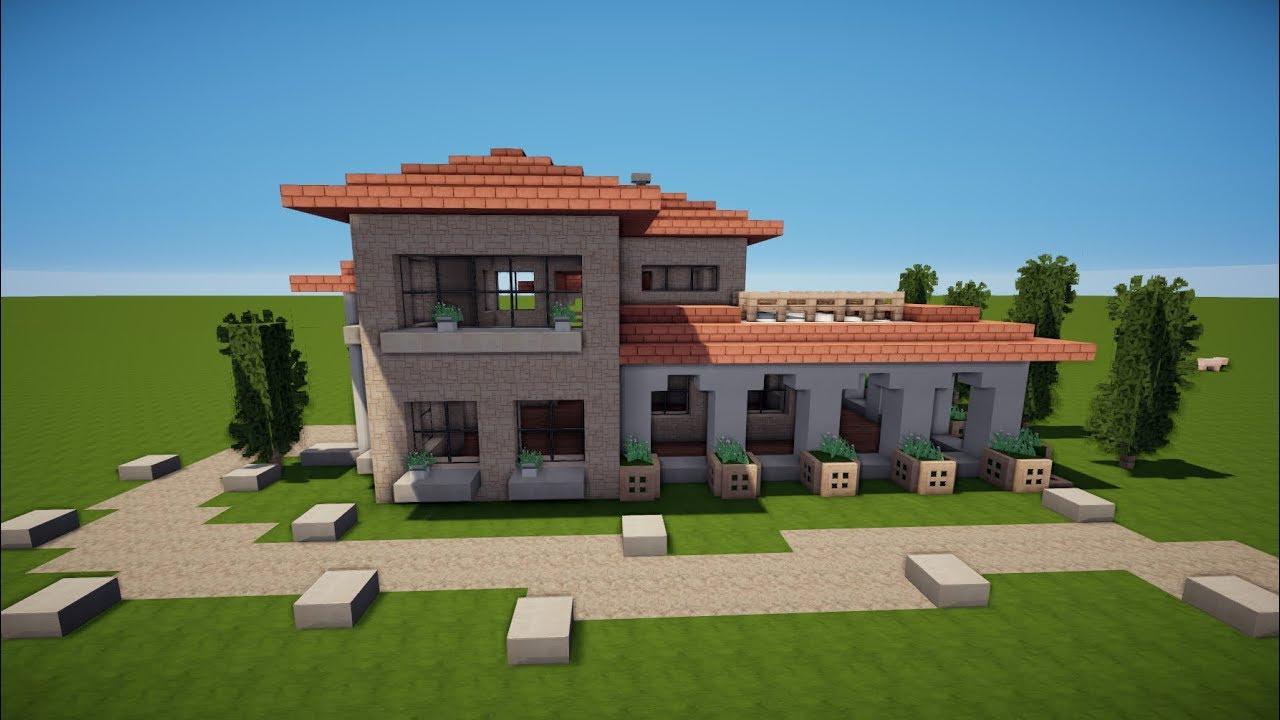 Minecraft italienische villa mit pool bauen tutorial haus for Minecraft modernes haus download 1 7 2