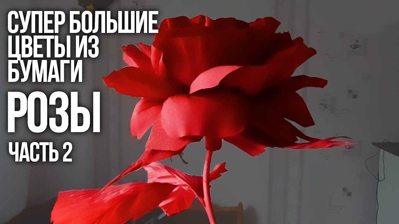 СУПЕР большие цветы из бумаги. Розы (часть II) - YouTube