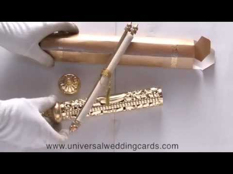 S 1003 Golden Color Scroll Wedding Invitations Indian Universal Cards