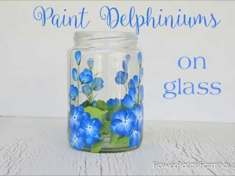 Paint Delphiniums on Glass