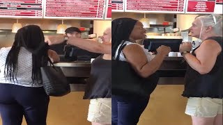 White Woman Abruptly Touched Black Woman's Hair While Ordering Food
