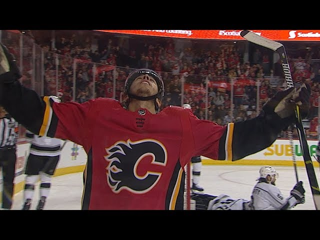 Johnny Gaudreau scores after ringing the post