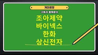조아제약,바이넥스,한화,상신전자/종목분석/0111