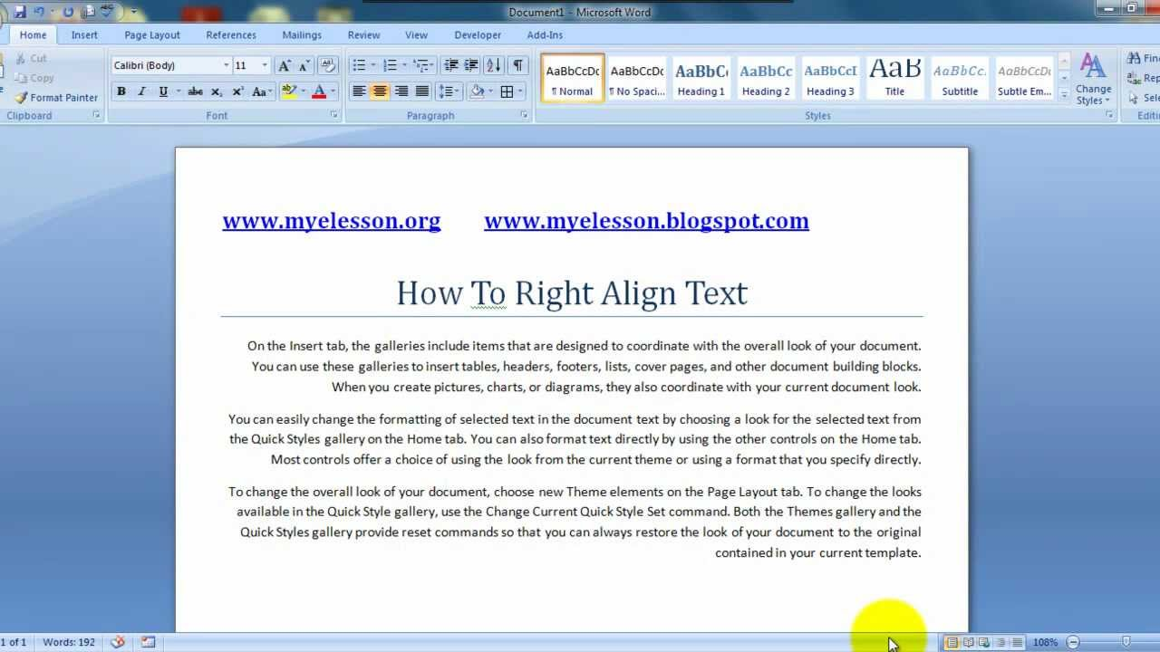 Learn MS Word Hindi - Format Text with Right Align - YouTube