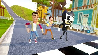 PLAYER VS NEIGHBOR VS BENDY RACES - Hello Neighbor