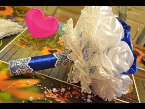 Свадебные цветы из атласных лент своими руками