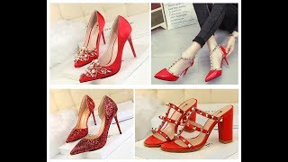 Stylish Red Colour Shoes For Women 2019-20=Valentine Day Special Footwear Ideas