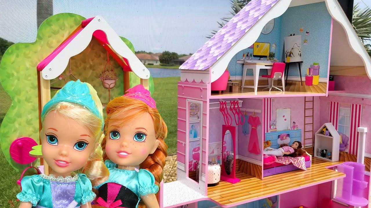 Download Belle's House ! Elsa & Anna toddlers visit Belle - tree house - hide and seek
