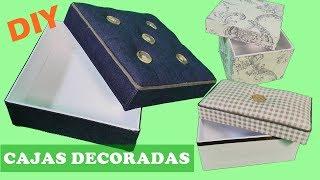 Cómo hacer cajas de cartón decoradas con tela. Ideas de cartonaje