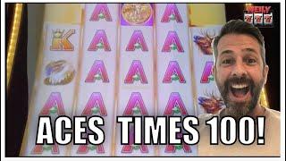 I have NEVER SEEN SO MANY ACES! JACKPOT HANDPAY on Buffalo Grand Slot Machine!
