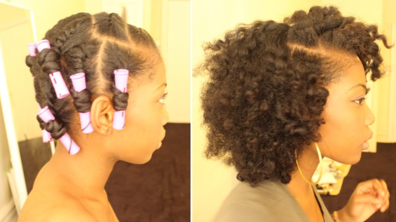 FLAT TWIST OUT ON DRY NATURAL HAIR (PERM RODS) - YouTube
