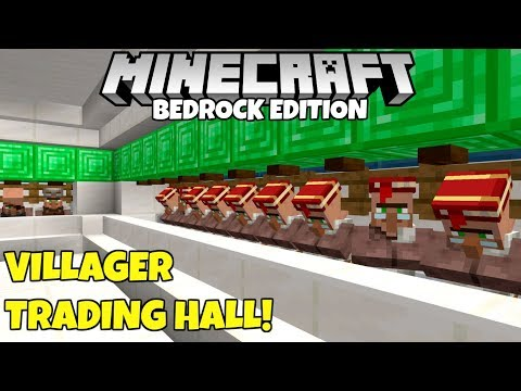Minecraft Bedrock: Villager Trading Hall Tutorial! Infinitely Expandable! MCPE Xbox PC