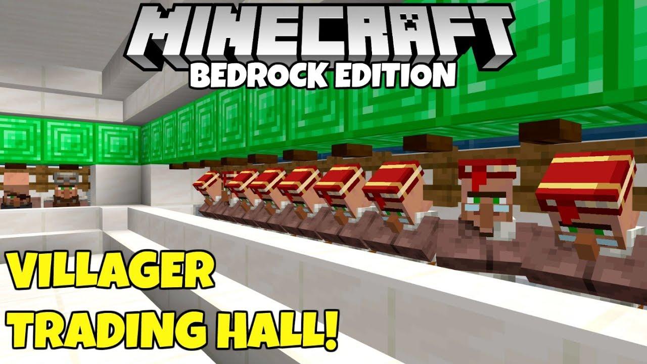 Minecraft Bedrock: Villager Trading Hall Tutorial! Infinitely Expandable!  MCPE Xbox PC