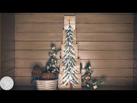 How To Paint a Christmas Tree on Wood   DIY Christmas Decor