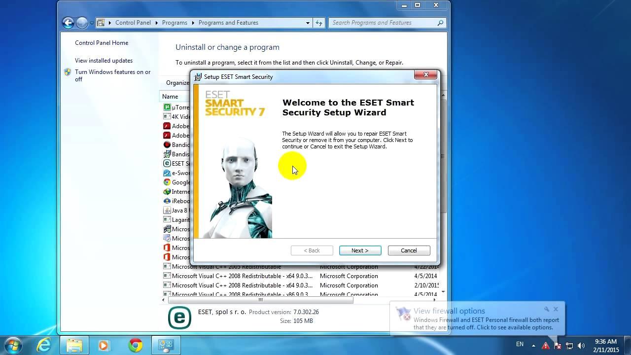Eset Smart Security Repair Firewall Not Working Proxy
