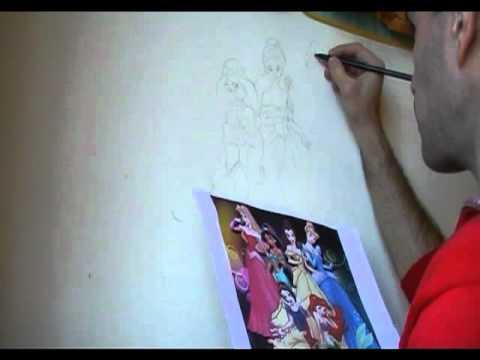 Preparazione Disegno Principesse Disney A Matita Su Parete Youtube