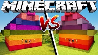 WOOL HOUSE VS CLAY HOUSE - Minecraft