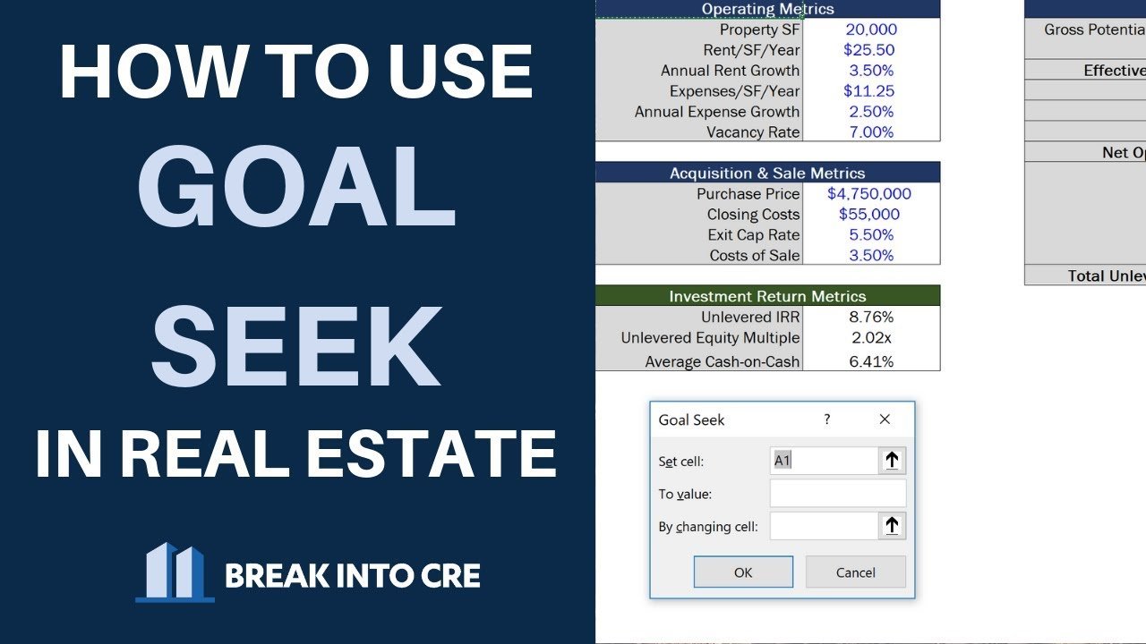 How To Use Goal Seek In Real Estate Financial Modeling