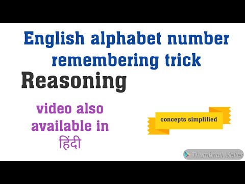 Alphabet number remembering trick (coding decoding trick-1)