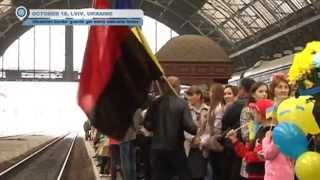 Ukrainian soldiers receive Lviv hero's welcome after serving near war-torn Russian border