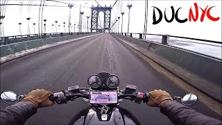Rapidly Riding a Motorcycle from Manhattan to Brooklyn in New York City v863