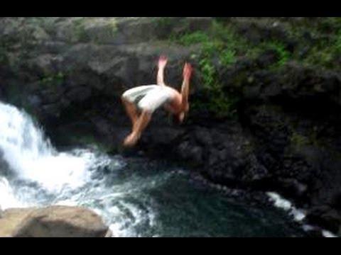 Cliff jumping, Kauai, Hawaii—Back flip!