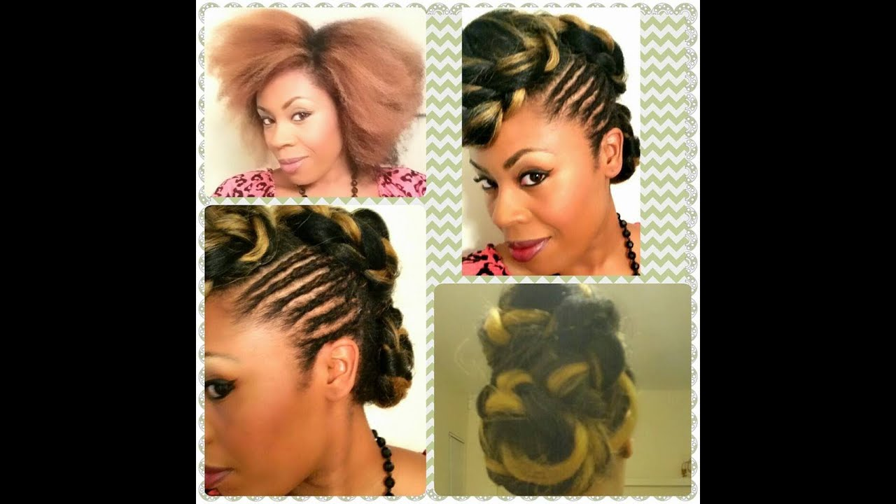 natural hair updo kanekalon braiding hair protective style