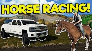 HORSE FARM & RACING IN MULTIPLAYER! - Farming Simulator 19 Gameplay - Chevy & Map Mod