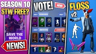 NEW FLOSS, Item Shop Voting, STW Free in S10?, Skydive Change, More World Cup Leaks! - Fortnite News