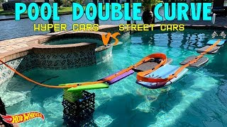 Hot Wheels Swimming Pool Hypercars vs Street Cars double curve tournament race