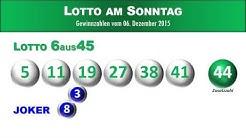 Lotto 6 aus 45 am Sonntag 06.12.2015: Ziehung Lottozahlen