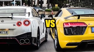 Nissan GTR R35 VS Audi R8 V10 Plus - LAUNCH CONTROL BATTLE!