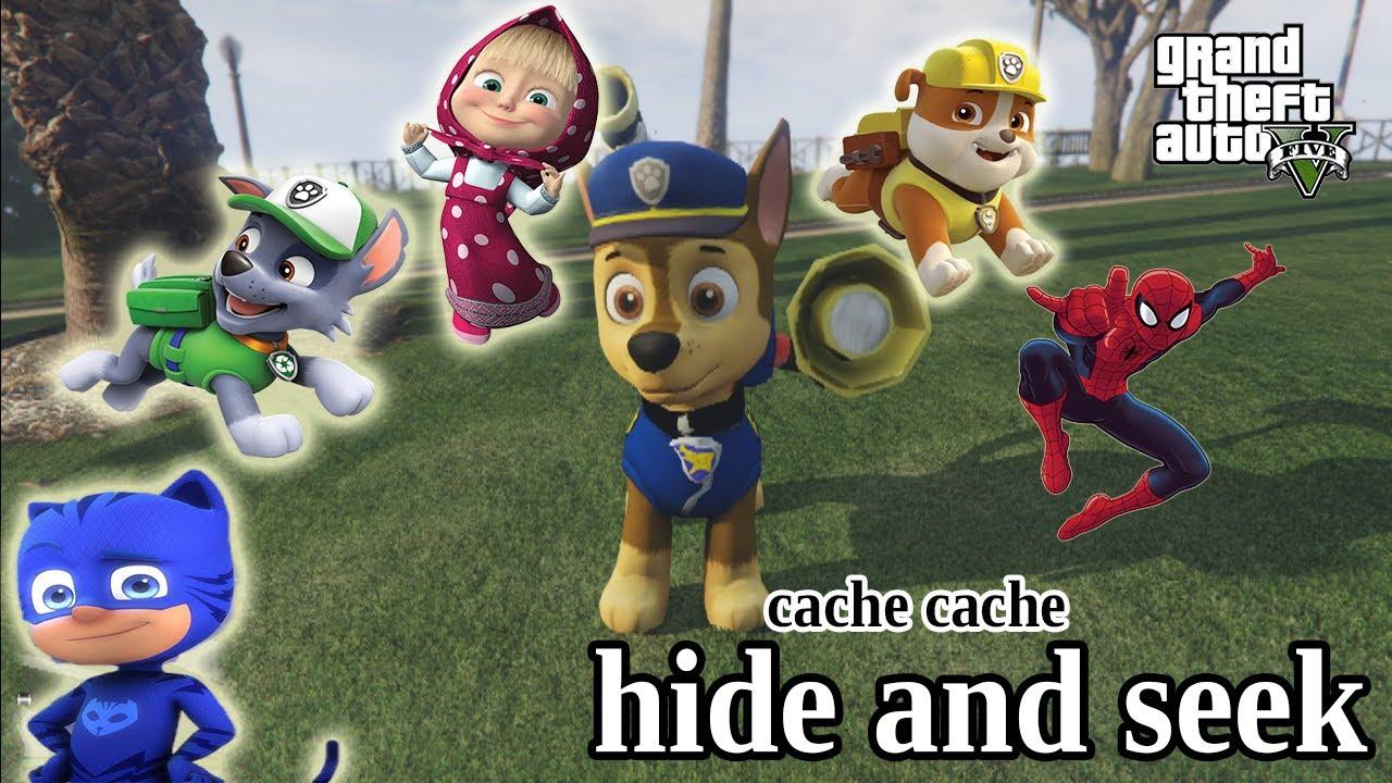 HIDE & SEEK Episode de CACHE CACHE PAW PATROL pat'patrouille PJmasks spiderman masha GTA Gameplay