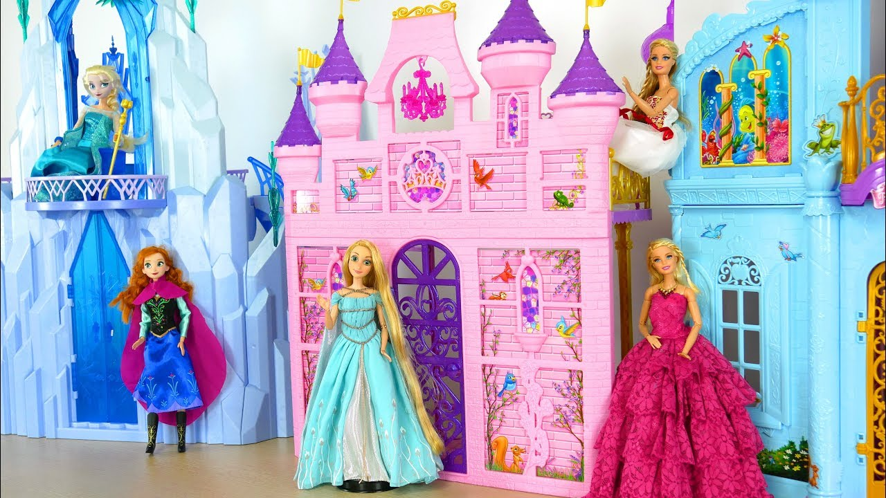 Toy Castle Show : Princess barbie doll pink royal castle mermaid bedroom