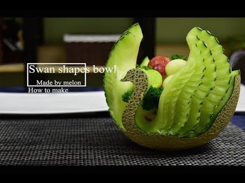 How to make a Swan bowl of Melon carving / Made by FCL Team