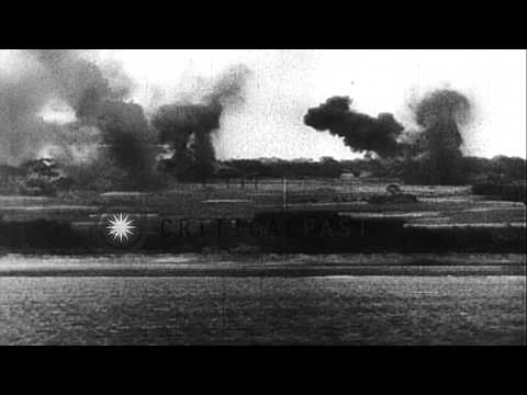 United States warships and the Marine Corps raid and gain control over the Japane...HD Stock Footage