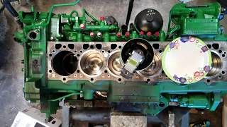 John Deere 8360RT 6090 engine overhaul time lapse