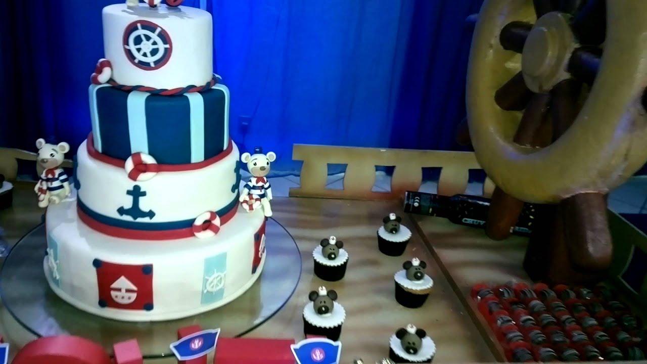 Decoração Youtube ~ Decoraç u00e3o em Festa Infantil com o Tema Marinheiro YouTube