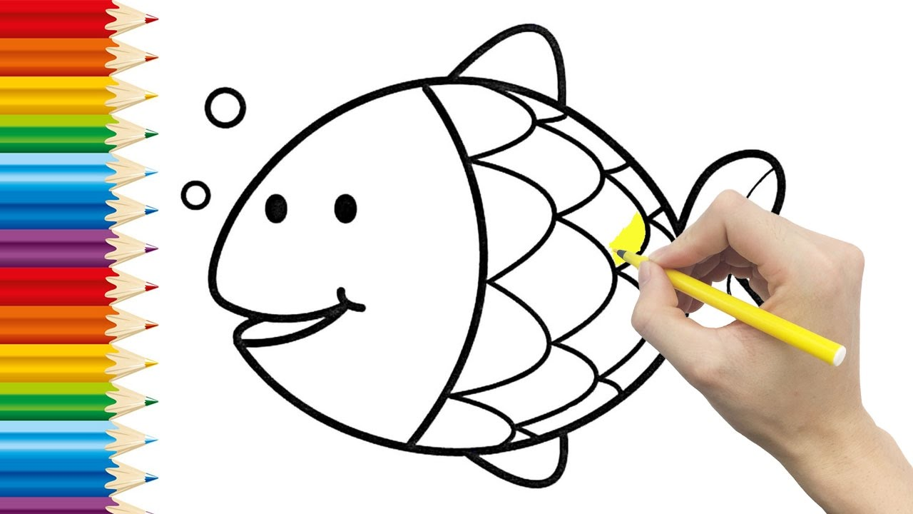 fish coloring page for kids and learning how to draw fish videos