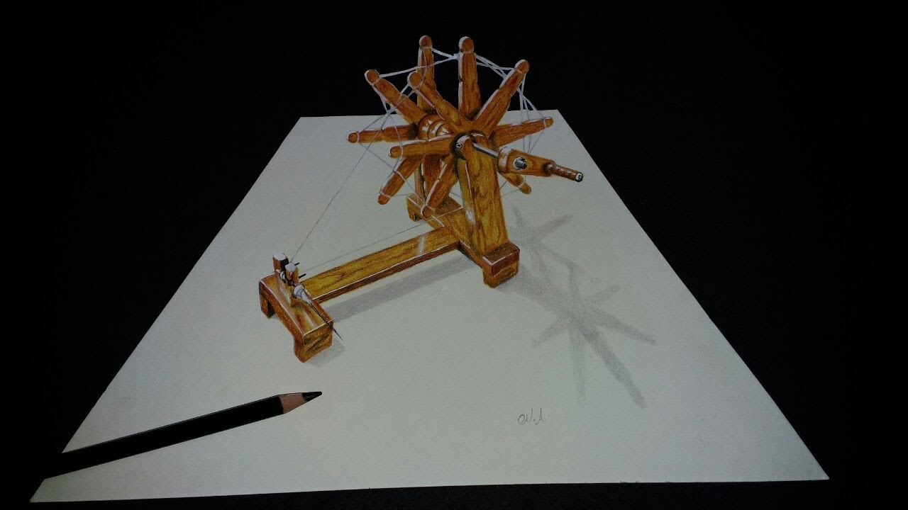 How to make spinning wheel !! drawing charkha in 3D