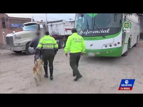 Hallan 'narcobus' en parqueadero de Bogotá que llevaría droga al exterior