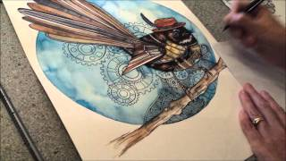 Steampunk Fantail - Speed painting by Fiona-Clarke.com