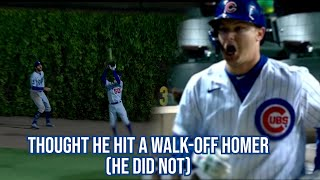 Joc Pederson thinks he hit a walk-off homer but didn't, a breakdown