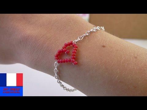 Tuto boucles d 39 oreille 39 coeur 39 en perles doovi - Bracelet a faire soi meme avec du fil ...