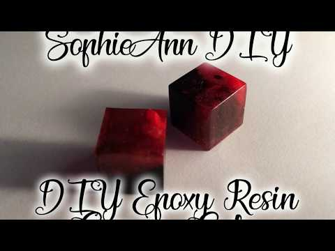How to make DIY epoxy resin carmen cube using black and red pigments and little stones